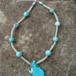 Silber und Howlith Halskette