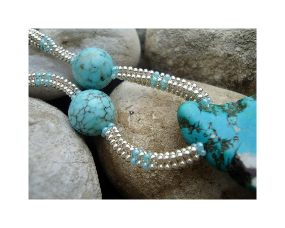 Silver And Turquoise Howlite Necklace