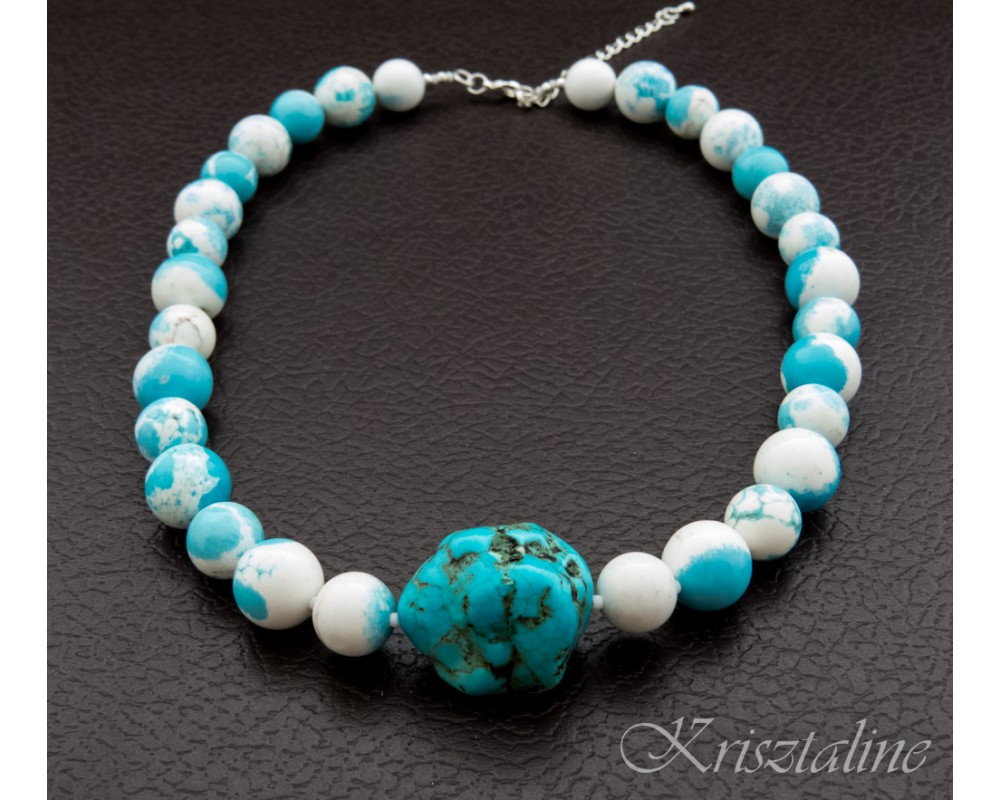 Blue And White Howlite Necklace