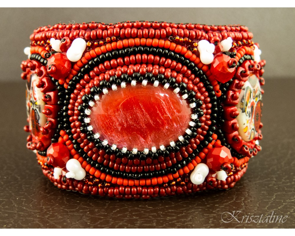 Little Red Riding Hood Bead Embroidered Cuff
