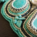 Turquoise Necklace with Bead Embroidered Pendant