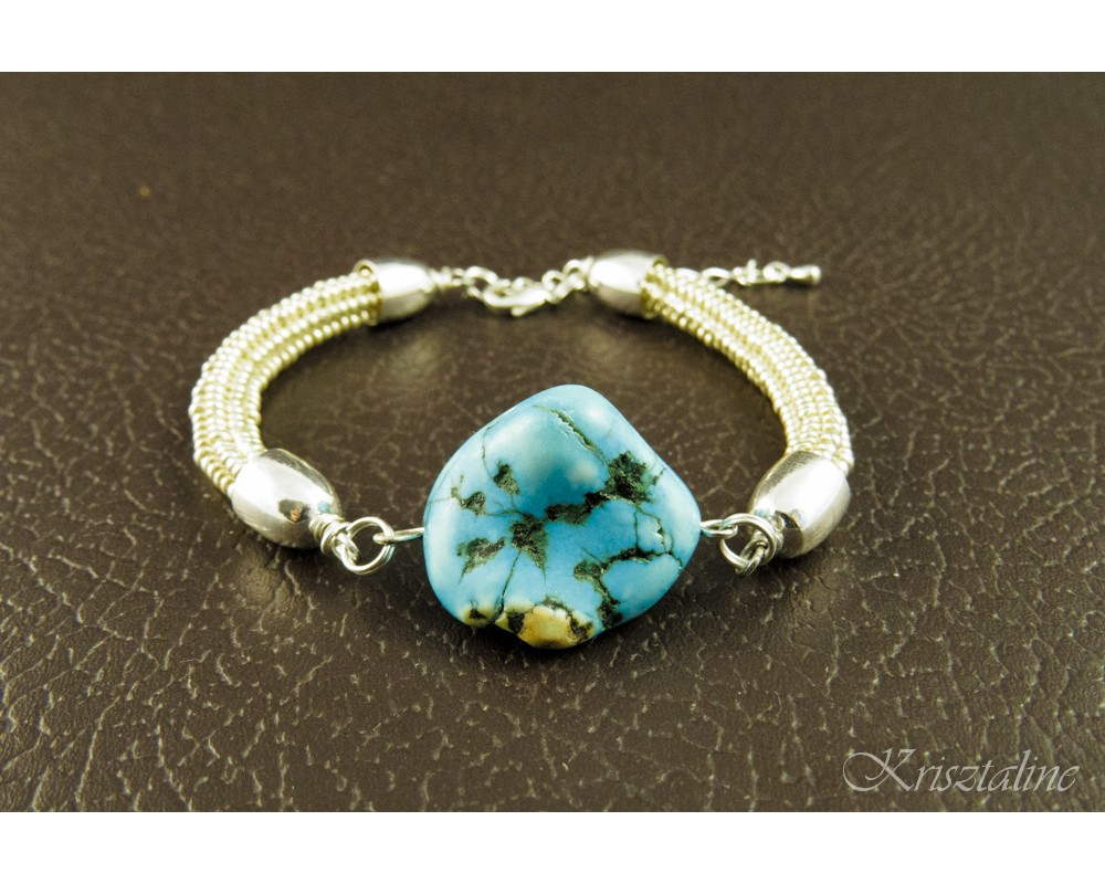 Silver And Turquoise Howlite Bracelet